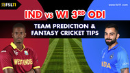 India vs West Indies 3rd ODI Match Prediction, Fantasy Cricket Tips & Playing XI Updates